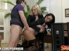 fetish, lesbian, anal, threesome, saboom, voyeur, milf, glasses, pussy-eating, pantyhose, big-boobs, blonde, 3some, riding, shaved, toys, ass-fuck