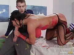 Horny brunette angelica taylor fucks in fishnets