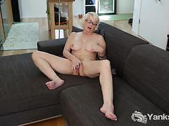 glasses, blonde, milf, cum, masturbation, fingering, solo, curvy, orgasm, climax, amateur, cumming