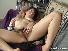 Amateur babe dildo fucks her moist pussy