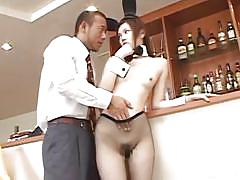 Japanese bunny gets nude at the bar for her man