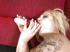 Mature blonde has some fun time alone