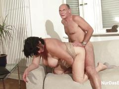 German granny and grandpa in real porn casting for money