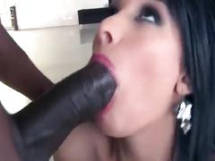 Dark french hottie takes a bbc in her booty