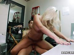 britney amber, blowjob, riding, doggystyle, tits, blonde, chair, reverse cowgirl, cowgirl, shaved pussy, backroom, sucking