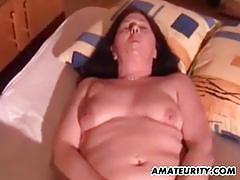Randy bbw gobbles down this hard cock
