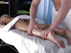 Lovely blonde gets an oily relaxing massage