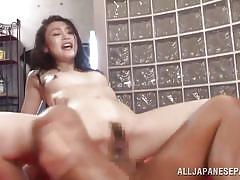 Japanese slut gets sandwiched
