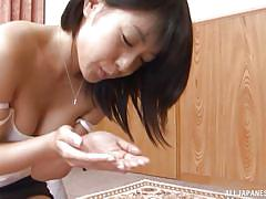 Japanese milf has a deep throat