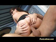 Brunette rides this hard dick