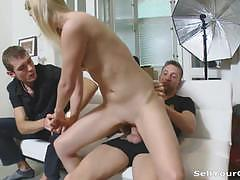 Hot blonde gets her pussy filled with cock