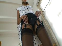Jane in black nylon stockings