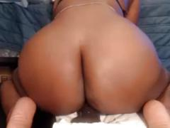 Thick black girl rides your dick on pov webcam (no sound)
