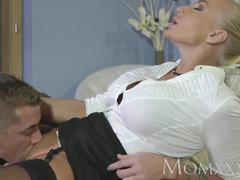 Mom tattooed blonde milf beauty loves to suck and fuck