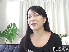 Cute asian chick has a hot fuck and she enjoys it