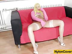 Big-breasted nataly gold covered in nylons