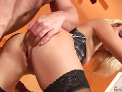blonde, euro, small tits, european, stockings, lingerie, shaved-pussy, small-tits, sucking-dick, fingering, doggy-style, reverse-cowgirl, piledriver, face-fucking