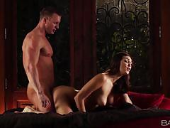 Holly michaels enjoys sex in the half light with her man