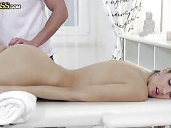 Kitty gets a relaxing massage from hot masseur