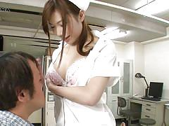 Japanese nurse makes her patient feel better with her round ass