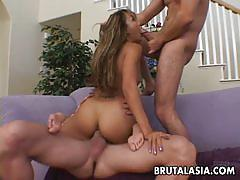 Brutal asia classy asian fucked in threesome
