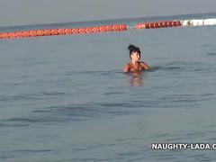 bikini, milf, wet, beach, public, voyeur, swimsuit, see-through, sheer, swimwear