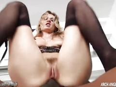 Blonde gets black cocks in anal gangbang then eats cum