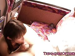Erito japanese teen stuffs her mouth with hard...