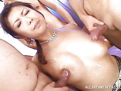 Japanese cutie makes men cum with her mouth and toes