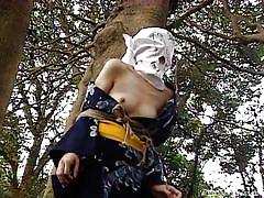Slut is used as a sex slave outdoors