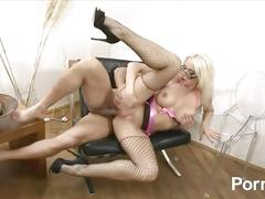amateur, big tits, hardcore, milf, big-tits, fake-tits, blonde, blowjob, throating, mom, mother, stockings, fishnets, glasses, shaved-pussy, doggy-style, reverse-cowgirl, dick-riding