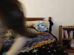 Teen girl sucking and deepthroats a dildo