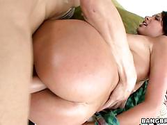 anissa kate, brunette, big tits, busty, reverse cowgirl, oil, tit wank, spooning