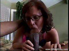 White wifey white milf with glasses fucks blac...
