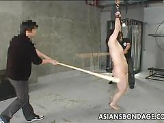 Asians bondage asian slut gets whipped hard