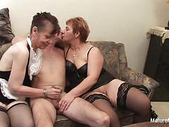 Mature n dirty two grandmas share a hard cock