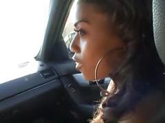 Ebony hooker pleases her white client