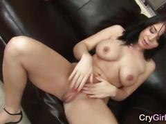 Solo crying orgasm masturbating with dildo