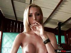 Horny shemale takes off green bikini and fucks a cream cake