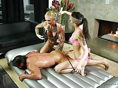 threesome, milfs, brunette, rubbing, tattooed, busty blonde, nuru massage, nuru massage, nuru network, tommy gunn, kleio valentien, rachael madori