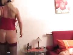 German milf cautgh guy while wanking