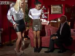 Oiled satin glamour sluts get their cunts and asses fucked hard