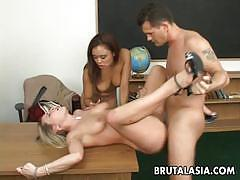 Asians bondage two hot babes share a hard cock
