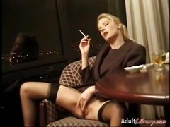 Jennifer george smoking masturbation in bottomless office uniform