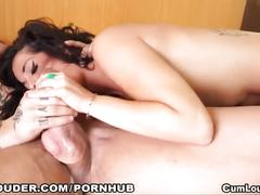 Naughty slut sucks a cock and then likes a hard fucking