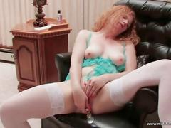 Slutty ginger whore fucks herself with dildo