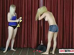 Lost bets games blonde amateur play a strip ga...