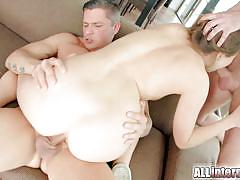 Both holes get filled with white cum