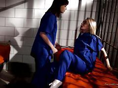lesbians, prison, ass lick, lesbian kissing, babes, busty blonde, brunette milf, locked up, sweetheart video, alli rae, dana dearmond