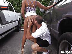 Sexy ebony goes on her knees to please her man